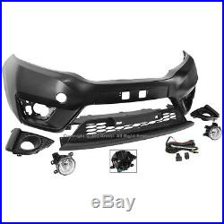15-17 For Honda Fit Complete Front Bumper Kit Lower Grille Foglamp Factory Style