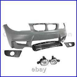 1M Style Front Bumper Conversion Kit Fog Light For BMW 1 Series 08-13 E82 E88