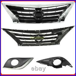 Complete Front Bumper Fascia Kit for Versa Sedan 15-18 w upper Grille Fog Bezels