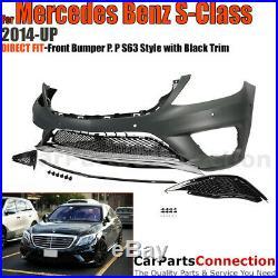 Complete Front Bumper Kit 2014-2017 Mercedes S Class AMG Style Black Trim W222