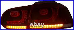 Customized RED CLEAR LED Taillights Taillamps for 2008-2013 MK6 GTI GTD TSI