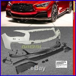 EAU Style Bumper For Infiniti Q50 w Front Lip V37 Without Parking Sensors 14-17
