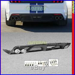 Fits 2015-2017 Mustang GT-350 Style Rear Bumper Diffuser With Dual Exhaust Pipes
