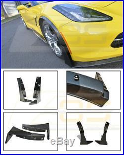 For 14-19 Corvette C7 Z06 Z07 Stage 3 Front Splitter Extension Winglets ABS Kit