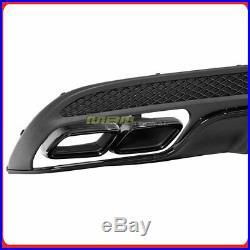 For 15-19 Mercedes-Benz C Class w205 Rear Diffuser Muffler Tips Sport Package