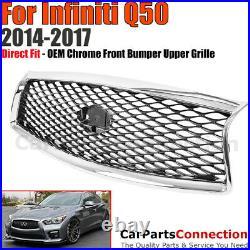 For 2014-2017 Infiniti Q50 Front Bumper Center Grille OE Chrome Conversion Kit