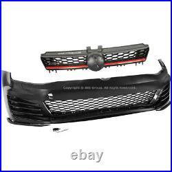 For VW Golf 15-17 MK7 GTI Style Front Bumper Cover LED Fog Mesh Grille Red Trim