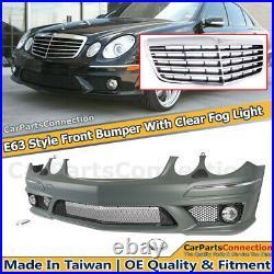 Front Bumper Chrome Grille E63 Style For Mercedes E-Class 03-09 W211 Fog Lamps