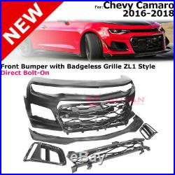Front Bumper Cover with Badgeless Grille For 16-18 Camaro ZL1 Style Upper Insert