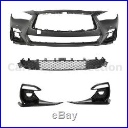 Front Bumper For 18-20 Infiniti Q50 Red Sport Style Conversion Fog Light Covers
