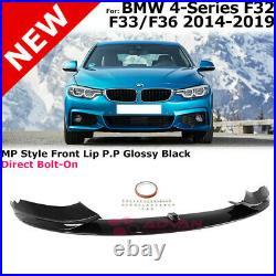 Front Bumper Lip Spoiler For 14-19 BMW 4-Series MP Style F32 F33 F36 Gloss Black