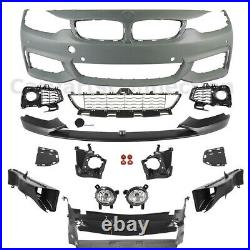 Front Bumper With PDC Fog Lights Performance Style Lip For 2014-2020 BMW F32 F36