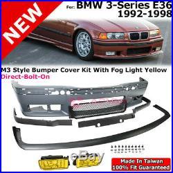 Front Lip M3 Style Bumper For BMW 3 Series 92-98 E36 LH RH Yellow Fog Light