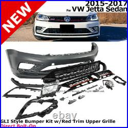 GLI Style Front Bumper Cover Kit with Grille 2015-2017 Volkswagen Jetta Sedan 4Dr