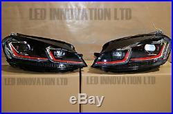 HEADLAMPS GOLF MK7 MK7.5 DRL BI XENON RED GTi DAYTIME RUNNING LIGHTS SEQUENTIAL