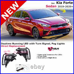 LED Fog Lights With Turn Signal For Kia Forte 19-20+ Sedan Daytime Running Lamps