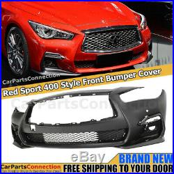 Red Sport Style Front Bumper Cover For Infiniti Q50 18-20 Grey Foglight Covers